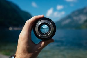 image of lens focusing on a lake